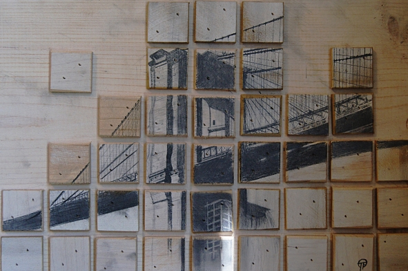3D art, tile, wooden, brooklyn bridge, pencil, drawing, wood, badass, awesome, unique