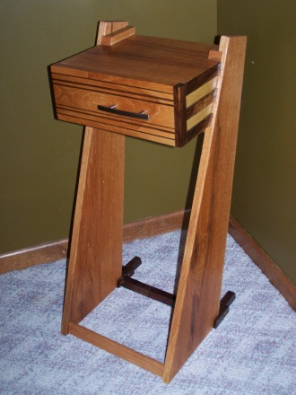 angled side table