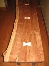 raw edge walnut tables