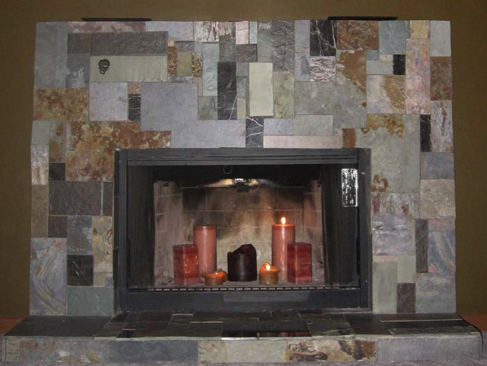 """Fireplace """"after"""" ... covered in tile"""