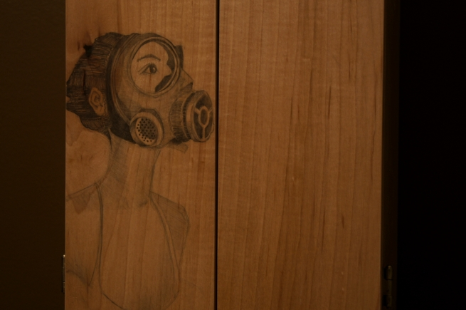 cabinet, 365, maple, handmade, craft, woodwork, girl, gas mask, planes, bombs, dove tails, copper, handles, shelf, drawer, custom, art