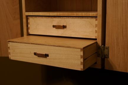 cabinet, 365, maple, handmade, craft, woodwork, girl, gas mask, planes, bombs, dove tails, copper, handles, shelf, drawer, custom, art